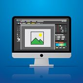 Graphic Photo Picture Editor Software Icon On Desktop Computer In Vector Flat Design Style Vector Il poster