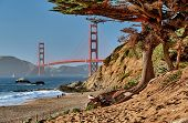 Golden Gate Bridge view from Baker Beach, San Francisco, California, USA poster