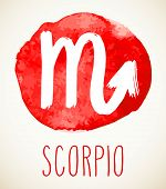 Scorpio Hand Drawn Zodiac Sign Illustration Over Red Watercolor Circle. Vector Graphic Astrology Sym poster