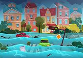 Flood Natural Disaster In Cartoon City Concept. City Floods And Cars With Garbage Floating In The Wa poster