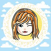 Vector Illustration Of Beautiful Red-haired Happy Girl Face, Positive Face Features, Clipart. Teenag poster