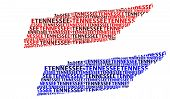 Sketch Tennessee (united States Of America) Letter Text Map, Tennessee Map - In The Shape Of The Con poster