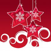 pic of christmas star  - red Christmas stars background - JPG