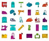 Home Appliances Icon Set. Color Outline Set Of Home Appliances Icons For Web Design Isolated On Whit poster