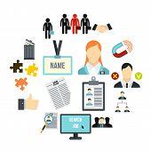 Flat Human Resource Icons Set. Universal Human Resource Icons To Use For Web And Mobile Ui, Set Of B poster