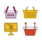 Shop Basket Icon Set. Color Outline Set Of Shop Basket Icons For Web Design Isolated On White Backgr poster