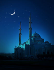 picture of muharram  - A ramadan moon and the mosque - JPG