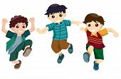 foto of happy kids  - An Illustration of Boys Jumping with Clipping Path - JPG