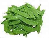 image of snow peas  - Unshelled sugar peas isolated on white background - JPG