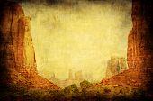 Grunge Image Of Monument Valley Landscape poster