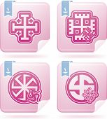 picture of swastika  - Religion is the adherence to codified beliefs and rituals included icons from left to right top to bottom - JPG