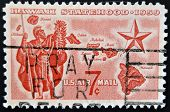 A stamp printed in USA shows Alii Warrior Map of Hawaii and Star of Statehood
