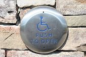 Silver Handicap Push to Open Button