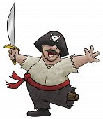 stock photo of peg-leg  - A cartoon pirate dances and sings for joy - JPG
