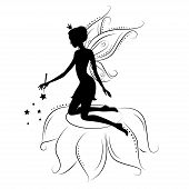 image of kneeling  - Beautiful fairy silhouette - JPG
