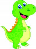 stock photo of terrific  - Vector illustration of Cute dinosaur cartoon isolated on white background - JPG