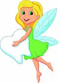 stock photo of tooth-fairy  - Vector illustration of Cute Tooth Fairy flying with Tooth - JPG
