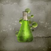 picture of flask  - Laboratory flask old style vector - JPG