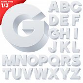 Vector alphabet of simple 3d letters. Sans bold. Upper cases White