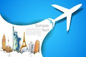 stock photo of aeroplane  - illustration of airplane flying in travel background with monument - JPG
