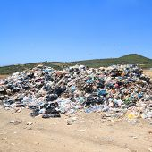 picture of landfill  - Pile of domestic garbage in public landfill - JPG
