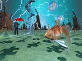 picture of surrealism  - Surreal scene with various eelements - JPG