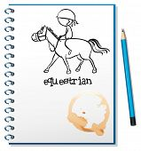 Illustration of a notebook with a drawing of a girl riding a horse on a white background