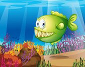 Illustration of a green piranha