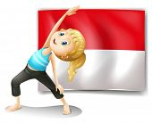 Illustration of a girl doing her exercise in front of the Indonesian flag on a white background