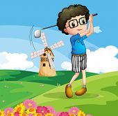 Illustration of a boy playing golf