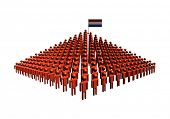Pyramid of abstract people with Netherlands flag illustration