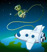 image of outerspace  - Illustration of an aircraft and a robot at the outerspace - JPG