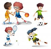 stock photo of spherical  - Illustration of the kids engaging in different sports on a white background - JPG