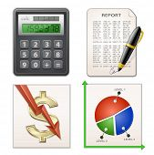 Financial Report Set. Calculator, pen, chart and financial report