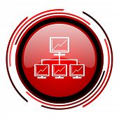 network red circle web glossy icon on white background