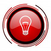 light bulb red circle web glossy icon on white background