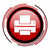 printer red circle web glossy icon on white background