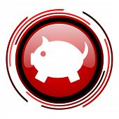 piggy bank red circle web glossy icon on white background
