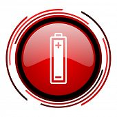 battery red circle web glossy icon on white background