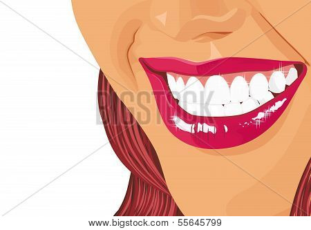 Illustration of a dazzling smile of the girl on a white background poster