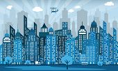image of monochromatic  - Vector illustration of simple blue city viewy  - JPG