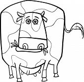 foto of color spot black white  - Black and White Cartoon Illustration of Funny Spotted Cow Farm Animal for Coloring Book - JPG