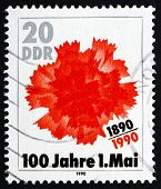 Postage Stamp Gdr 1990 Flower, Labor Day