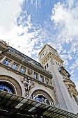 stock photo of gare  - Shot of Train station gare de lyon in france in summer with blue cloudy sky - JPG