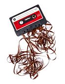 Old broken music cassette