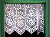 picture of lace-curtain  - Lace curtain with a hearts symbol of love - JPG