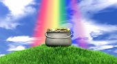 stock photo of leprechaun  - A leprechaun pot filled with gold coins highlighted by a rainbow on a regular green hill with a blue sky background - JPG