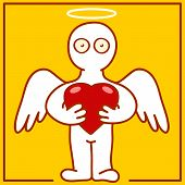 picture of cherub  - illustration of cherub with heart in hands - JPG