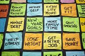 stock photo of blackboard  - popular new year goals or resolutions  - JPG
