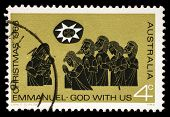 AUSTRALIA - CIRCA 1966: A Stamp printed in AUSTRALIA shows the Adoration of the Shepherds, Christmas